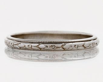 "Antique Wedding Band - Antique 18k White Gold ""JR Woods"" Engraved Wedding Band"