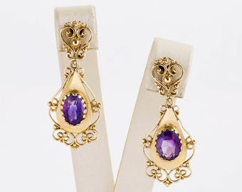 Vintage Earrings - Vintage 14k Yellow Gold Amethyst Dangle Earrings