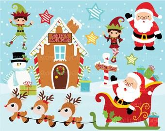 Christmas Clipart - Santa's Workshop, reindeer, north pole, elf, vector graphics, digital clip art, digital images, commercial use clipart