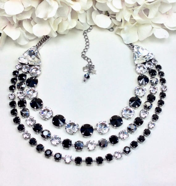 Swarovski Crystal THREE Strand Statement Necklace -12MM, 8.5, & 6mm with 23MM Trident Crystals- Priced Slashed - 79.00 - FREE SHIPPING.