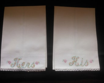 Beautiful Pair of Vintage Linen Hand Towels - His and Hers Embroidered Guest Towels - Fingertip Towels - Guest Towels