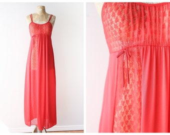 Vintage Red Maxi Nightgown - Romantic 1970's Nylon Nightgown with Lace - Long Empire Waist Nightgown - Size Medium
