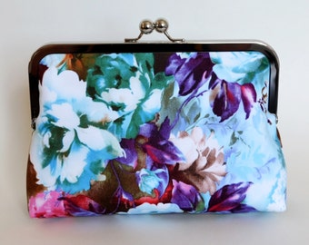 CLUTCH in Purple and Blue Floral - SMALL