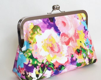 SMALL handmade clutch in pink, yellow, purple floral