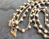 Rustic fall crochet bracelet necklace - neutral olive boho yoga surfer jewellery by Mollymoojewels