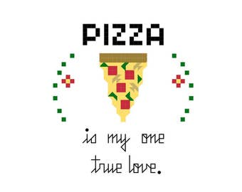 Cross Stitch Pattern -- Pizza is the best, PDF digital file of pizza with pepperoni or tomatoes, green peppers, mushrooms, slice of pizza