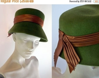 SHIPPING DELAY 1960s Moss Woodland Green Wool Bucket Hat with Brown Ribbon