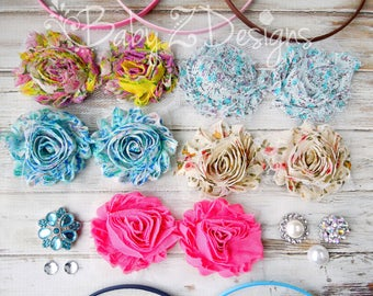 Floral Shabby DIY Headband Kit - Can be sized to fit Toddler, Girl, Tween, Teen, or Adult