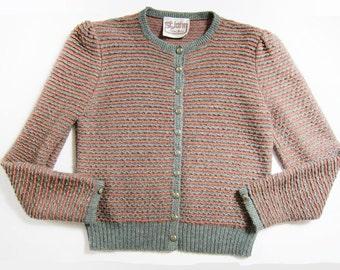 St John Knit Cardigan / Vintage St. John Stripe Jacket / Enamel Buttons / Green Tan Knit Sweater