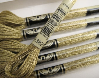 Color #E3821 (5282), DMC Metallic Embroidery Floss - 8m / 8.7 yd. Skeins - Available in Single Skeins, Multi-Skein Pkgs & in Full Boxes