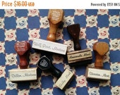 ON SALE Montana Collection of Vintage Wooden Handled Allen Rubber Stamps   Lot of Montana Cities