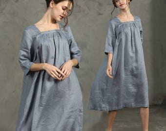 Linen Tunic Dress Grey Dress , Long Linen Dress, Linen Shirt Dress, Oversized Dress, Linen Kaftan Dress, Linen Kimono Tunic, Grey Dress,