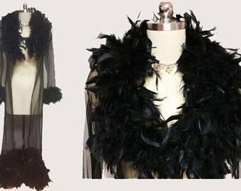 Vintage Sheer Black Peignoir adorned with Feathers black robe feather peignoir nightgown robe vintage robe small peignoir elegant moments