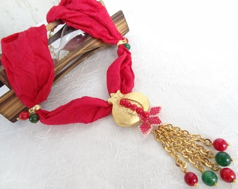 Jade and Coral Necklace, Pomegranate Necklace, Turkish Silk Necklace, Women Jewelry,Elegant,Feminine ,Women Style, Women Gift,Christmas Gift
