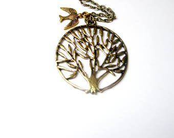 Tree necklace - gift for  women - tree of life, woodland rustic -  spring and summer