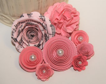Handmade Prima Inspired Spiral Paper Flowers for Scrapbooking,Mini Albums,Home Decor,Hair Clips,Centerpieces,Gift Topper