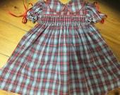 Smocked baby dress size 1yr tartan fabric