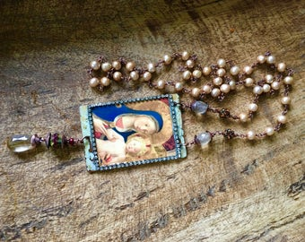 Assemblage Rustic Artisan 'The Madonna and Child' necklace -  Rustic assemblage handmade . mixed media . folk . rutilated quartz stone