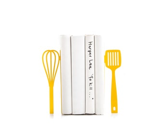 Gift for a chef Yellow Spatula and whisk bookends // kitchen stands for cookbooks // kitchen decorating ideas // FREE WORLDWIDE SHIPPING //