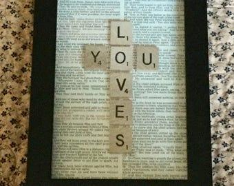 Framed LOVES YOU  Cross in scrabble tiles