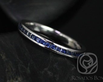 Rosados Box Judy 14kt White Gold Princess Blue Sapphire Channel Set HALFWAY Eternity Band