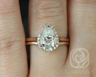 Rosados Box Jorie 10x7mm & Mo 14kt Rose Gold Pear F1- Moissanite and Diamonds Extra Low Profile Halo Wedding Set