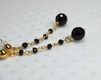 Elegant black onyx earrings Delicate linear earrings Long dangle earrings Black spinel beaded rosary chain Elegant gemstone jewelry