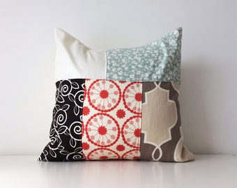 """Fabric Collage Pillow Cover, Neutral Colours, Boho, Contemporary Patchwork, Floral, Color Block, Pattern Block, Modern Vintage, 18x18"""""""