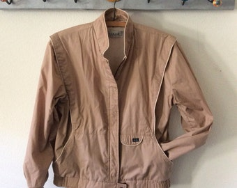 Vintage Womens Coat-Clique-Size7/8-Made in South Africa-Tan-Kaki