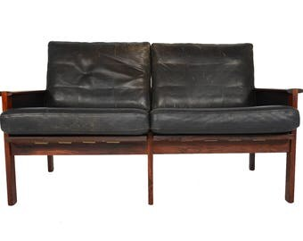 Danish Mid Century Modern Illum Wikkelsø Black Leather + Rosewood Loveseat Sofa