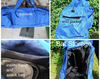 Personalized Baseball equipment duffle bag with insulated drink or snack bag included./ Bat tote/ bat carrier/bat bag/baseball gym bag/