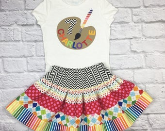 Traditional Rainbow Art Party  Birthday with Age Outfit