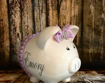 LARGE Personalized purple/ lavendar bank, tutu,crown bank,girl bank, birthday banks, custom piggy banks, baby's first piggy bank