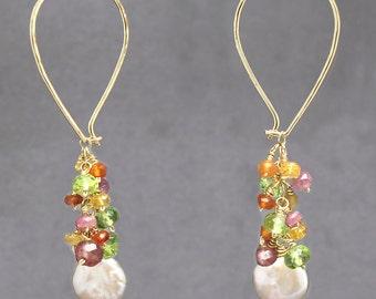 Teardrop cluster hoop earrings pink ruby, citrine, peridot, ivory pearl,, Carnivale 55