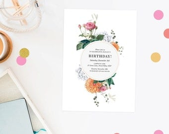 Birthday Invitation Floral Pretty Birthday Invite Modern Vintage  Invitations Clover Pink Cream Peach Flowers Female Birthday