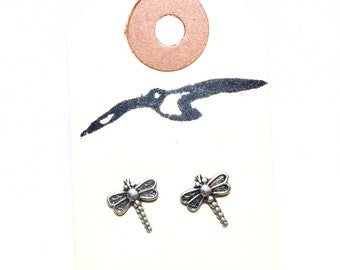Adorable Little Antique Silver Dragonfly Stud Earrings