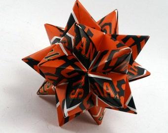 Medium Origami Star Made From Licensed San Francisco Giants Paper, San Francisco Baseball Star, Giants Baseball Decoration