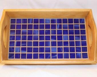 Blue Glass Mosaic Tray