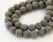 Lava Beads, Taupe, 8mm Round - 15 inch Strand - eGR-LV78-8