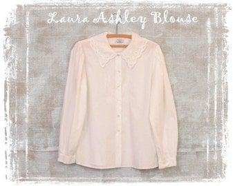 Vintage Laura Ashley White Blouse, Classic White Blouse, Cotton Blouse, Lace Collar, 1980s Blouse, Medium