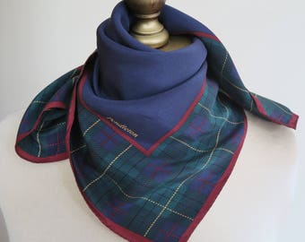 PENDLETON silk scarf, silk neckerchief, plaid silk scarf, square scarf, navy blue scarf, vintage scarves, preppy look, silk hairwrap