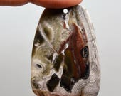 Earth Colors - Brown, Tan, White - Natural Mexico Crazy Lace Agate Fan-shaped Pendant Bead 45x30x6mm