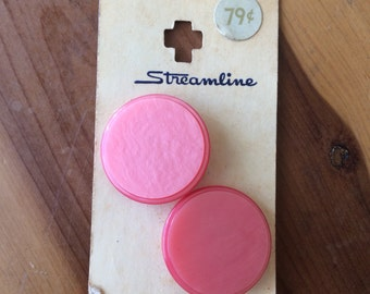 "15 vintage buttons, 1 1/8"" pink marbled Streamline button, size 45"