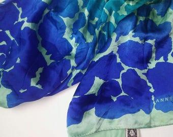 Anne Klein Cobalt Teal Aqua Silk Scarf