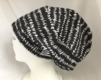 Scrub Hat Slouchy Ponytail Style, Black with Birds on a Wire
