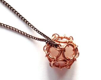 Rose Quartz Cage Pendant - Rose Quartz Stone Captured in Copper Chainmail Dodecahedron