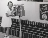 Little Girl at Gumball Machine Vintage Found Photo