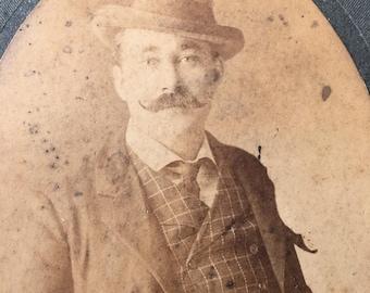 Mustache Sharp Dressed Man Victorian Hottie Vintage Photo Card Mounted