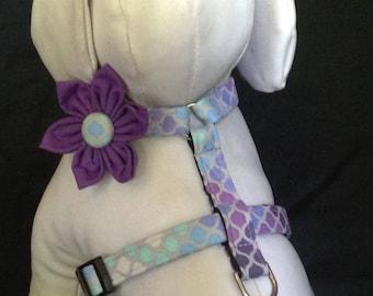 Dog harness flower/bow tie set  -  Purple Mosaic - size XS, S, M