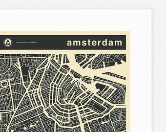 AMSTERDAM MAP (Giclée Fine Art Print, Photographic Print or Poster Print) mono version